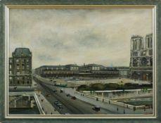 Adrion, Lucien (Strassburg, Berlin 1889-1953) Paris,Notre-Dame und der Place du Parvis mit der Petit
