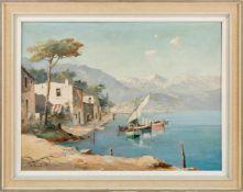 Demmin, Erich (Mecklenburg, Berlin 1911-1997) Lago Maggiore.Blick auf Ascona und Locarno. Sign. Lwd.