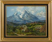 Guggenberger, Theodor (1866-1929) Blick auf Berchtesgadenund die mit Firnschnee bedeckten Berge.