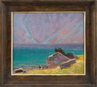 Cwiklinski, Zefiryn (1871-1930) Küste bei Sonnenuntergang. In Rot sign. u. dat. 1926. Malkarton.