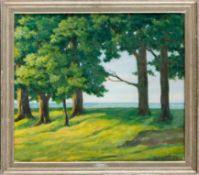 Glatz, Alfred (Cottbus, Berlin 1870–1945) Insel Vilm.Blick durch Baumgruppe auf die Ostsee. Sign.