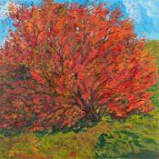 Bulgarischer Künstler (um 1979) Rot gefärbter Baum.Schwer lesbar sign.: Igor ... u. dat. (19)79.