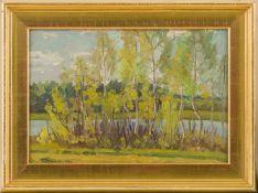 Demidov, Alexandre (geb. 1959 Russland) Flusslandschaft mit Birken.Sign. u. dat. 1977. Lwd.