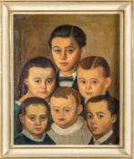 Biedermeier-Porträtist (Mitte 19.Jh.) Porträts von sechs Geschwistern, pyramidal geordnete Köpfe.