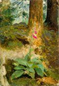 Agthe, Curt (Berlin 1862-1943) Fingerhutstaude vor Baumstamm in Landschaft.Sign. Öl a. Papier,