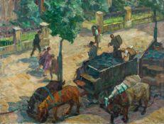 Antoine, Otto (Koblenz, Berlin 1865-1951) Kohlenwagen.Kohlentrimmer beim Ausladen vor Eingang. Auf