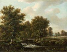 Becker, August (Darmstadt, Düsseldorf 1822-1887) Parklandschaftmit kl. Stauwehr und hölzerner