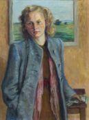 Burckhardt, Paul (Basel 1880-1961) Blonde junge Frau in blauem Mantel vor Landschaftsgemälde.