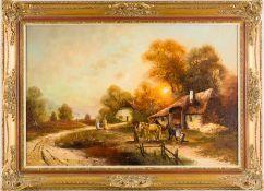 Freyer, L. (Dekorationsmaler, 20. Jh.) Landschaft mit Hufschmiede.Sign. Lwd. 60×90 cm. R.(55042)