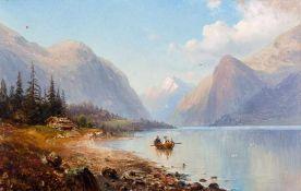 Bagge, Magnus Thulstrup (1825-1894) Sommertag am Moldefjord.Auf dem Wasser Ruderboot. Sign. u.