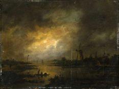 Abels, Jacobus Theodorus (Amsterdam, Abcoude 1803-1866) Nächtliche Flusslandschaftmit Mühle und