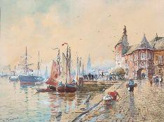 Fehdmer, Richard (Königsberg, Berlin 1860-1945) Hafen von Amsterdammit zahlreichen Segelbooten und