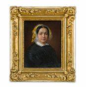 Biedermeier-Maler (um 1840) Ältere Damein schwarzem Taftkleid mit weißem Spitzenkragen und mit