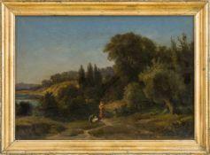 Dähling, Richard (Berlin, nachweisbar um 1842-1879) , zugeschrieben Südliche Flusslandschaft mit