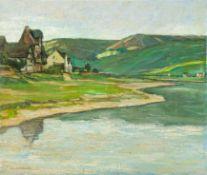 Euler, Eduard (Düsseldorf, 1867–1931) Mosellandschaft.Flussschleife und Häuser an grauem Regentag.