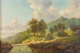 Coomans, A. (um 1865) Hügelige Flusslandschaft mit Burgruine und Schafherde. Sign. u. dat. Lwd. 48×