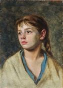 Döring, Willi (geb. 1850 Berlin) Mignon. Melancholisch blickendes Mädchen. Monogr. Malkarton. 32×
