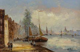 De Wael (Holland, 20. Jh.) Hafenbecken mit Blick auf Kuppelkirche, Häuser und Boote. Sign. Holz.