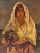 Blume, Richard (1891-1943) Junges südländisches Mädchenmit Wasserkrug. Sign. Lwd. 80×62 cm. Auf
