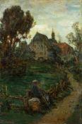 Amberg, Wilhelm (Berlin 1822-1899) Beschauliche Rast.Wanderer mit Hund und abgesetzter Kiepe an