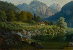 Deutscher Maler (Mitte 19. Jh.) Schweizer Gebirgslandschaftmit kleinem See, Bauerngehöft und kl.