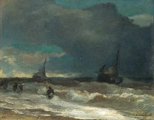 Achenbach, Andreas (Kassel, Düsseldorf 1815-1910) Ankunft der Fischerbootebei aufkommendem