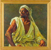 El Faula, Abdessalam (zeitgenössischer marokkanischer Künstler) Arabermit Turban. Brustbildnis.