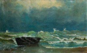Gordack, Walter (um 1885) Angetriebenes leeres Boot in der Ostseebrandung. Sign. u. dat. Lwd. 42×