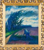 Decker, Hugo (geb. 1899 Bernau) Landarbeiter beim Sensen.Sign. u. dat. 1929. Malkarton. 34×29 cm.
