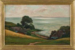 Ebeling, Cathrine (1. H. 20. Jh.) Ostseeküstemit an den Hang geduckten Häusern. Sign. Lwd. 35×56 cm.