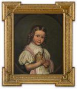 Berliner Genremaler (Mitte 19. Jh.) Blondes Mädchen,eine Taube in Händen haltend. Gemaltes Oval.