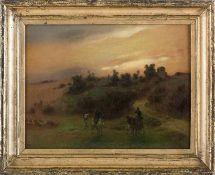 Brandt, Otto (Berlin, Olevano 1828-1892) Morgengrauen in der Campagna.In Senke Hirten zu Pferd und