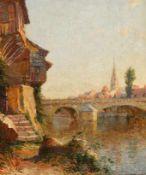 Charasson, Eugène (Frankreich 19./20. Jh.) Stadtmit steinerner Bogenbrücke und Kirche. Sign. Lwd.