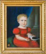 Biedermeier-Pastellmaler (um 1820) Knabe,eine Taube fütternd in rotem Kleid. Pastell. 38×30 cm.