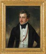 Deutscher Porträtmaler (um 1820) Junger blondgelockter Herrmit weißer Weste und schwarzem Rock.