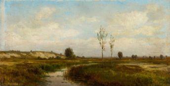 Engelhardt, Georg (Berlin 1823-1883) Sommertag.Dünenlandschaft mit Ebene und 2 jungen Birken.