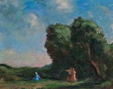 Curry, Adolf von (Wien 1879-1939) Landschaftmit mächtiger Baumgruppe, Liebespaar und sitzender Frau.