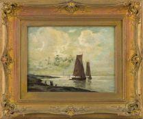 Asmus, Eugen (Düsseldorf, nachweisbar um 1930) Flache Küstemit ankernden Segelbooten und