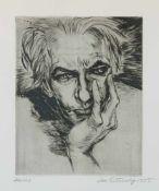 Grundig, Lea (Dresden 1906-1977 während einer Mittelmeerreise) Porträt Hans Grundig – mit dem Kinn
