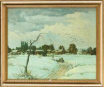 Dürschke, Max (Breslau 1875– nach 1945) Kleine verschneite Dorfhäuser mit Krähenschwarm. Monogr.