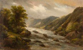 Bertold, A. (um 1880) Wasserfall.Samaden, Schweiz. Sign. Lwd. (4 rep. Löcher). 50×81 cm. R.(57228)