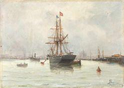 Französischer Marinemaler Bodin (2. H. 19. Jh.) Im Hafen von Nantes.Abgetakelter Dreimaster und