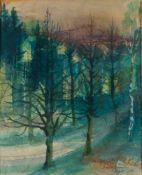 """Grundig, Hans (Dresden 1901-1958) Mischwald mit Birken, 1949.Aquarell auf Papier. Sign. u. dat. """""""