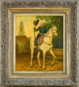 Bolz, Karl (geb. 1877, ansässig in Mainz) Friedrich d. Gr.zu Pferd. Im Hintergrund Garnisonkirche in