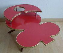 Spielbank-Tischchen, 1950er Jahre rot resopal-beschichtete Spanplatte, goldene Alukante, niedriger
