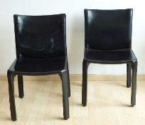 Paar Design-Stühle, CAB, Cassina schwarzes Rindsleder, H/Sh 82/44cm