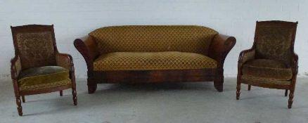 Empire-Sitzgruppe, St. Petersburg, um 1800 Sofa m. Paar Sessel, Mahagoni, gerader Rücken,