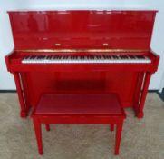 rotes Klavier, Asien schlichter rotlackierter Kasten, mit Bank, 118x146x57cm