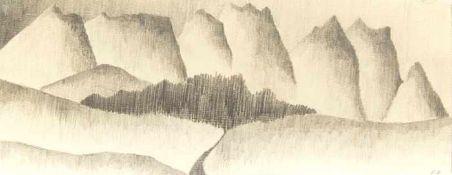 Diem, Eduard Postkarte & Berglandschaft Tusche auf Papier / Bleistift auf Papier Jeweils