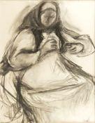 Eckl, Vilma Frau bei der Handarbeit Kohle auf Papier Signiert rechts unten 62 x 49,5 cm Kleines Loch